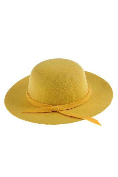 Bay Şapkacı - Kız Çocuk Geniş Kenarlı Kaşe Şapka 7168 Sarı