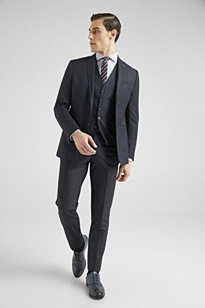 D'S Damat Erkek Lacivert Düz Yelekli Takım Elbise