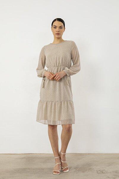 Foremia Kadın Bej Puantiye Desen Şifon Elbise