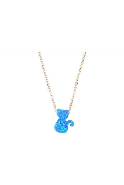 Mercan Silver Kadın Mavi Opal Taşlı Kedi Kolye