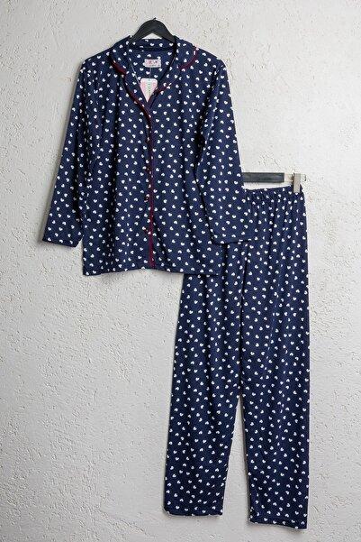 BSM Kadın Pamuklu Lacivert Kalpli Düğmeli Pijama Takımı
