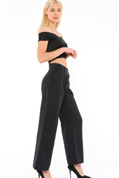 Moontify Kadın Siyah Yan Bağlamalı Ispanyol Paça Pantolon