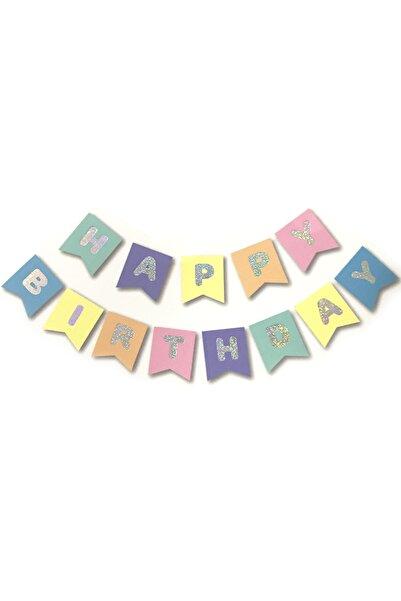 Parti dolabı Makaron Hologram Happy Birthday Banner Yazı