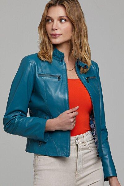 Derimod Kadın Mavi  Alicia  Deri Ceket