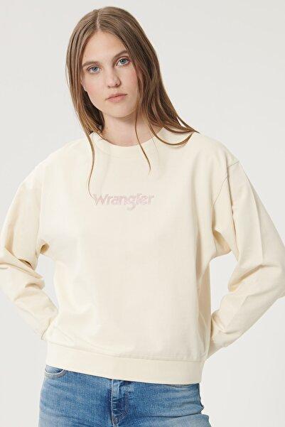 WRANGLER Kadın Huş Ağacı Rengi Regular Fit %100 Pamuk Sıfır Yaka Sweatshirt