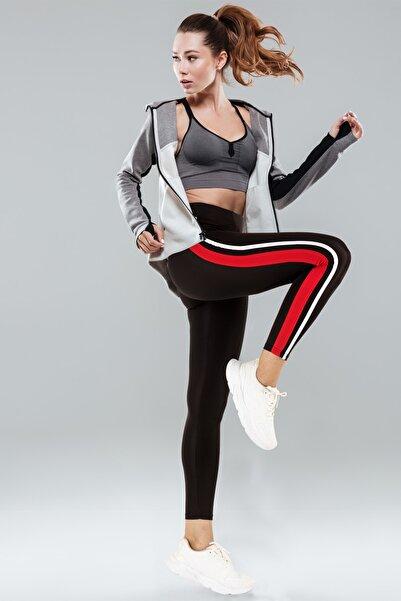Doremi Kadın Siyah Active Sportive Çift Çizgili Tayt
