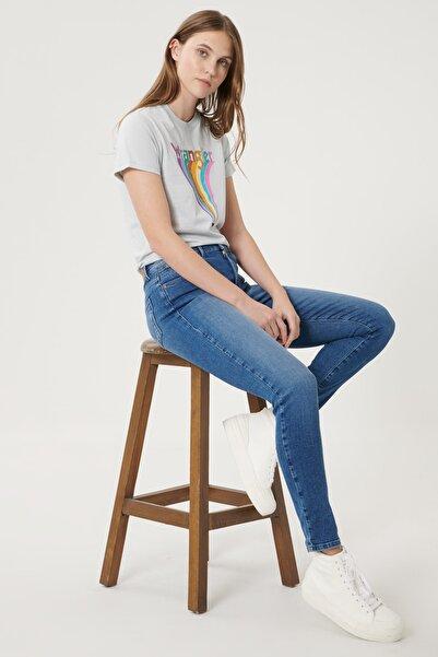 WRANGLER Kadın Mavi High Rise Skinny Fit Denim Esnek Yüksek Bel Jean Kot Pantolon
