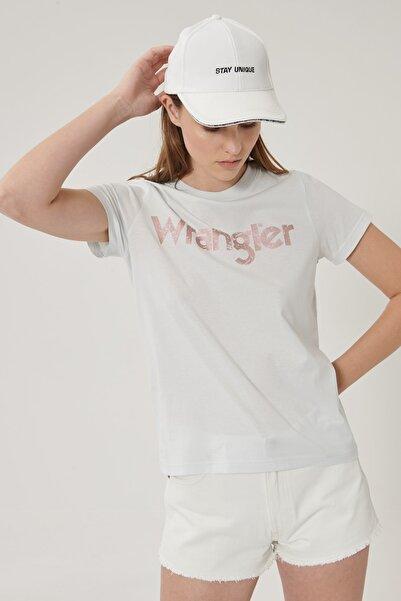 WRANGLER Kadın Açık Mavi Kısa Kollu %100 Pamuk Logolu Sıfır Yaka Tişört