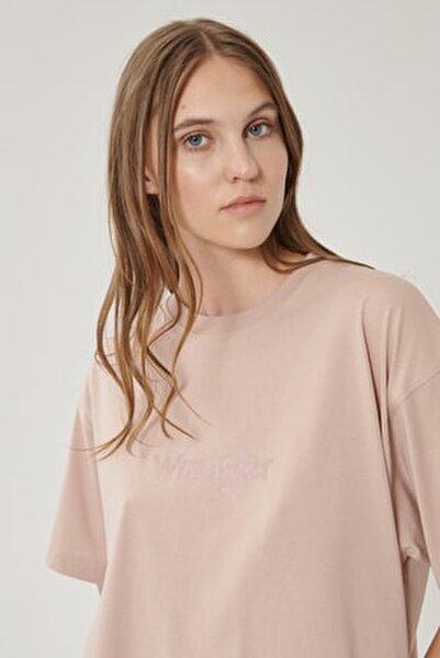Kadın Gül Kurusu Kısa Kollu %100 Pamuk Logolu Sıfır Yaka Tişört