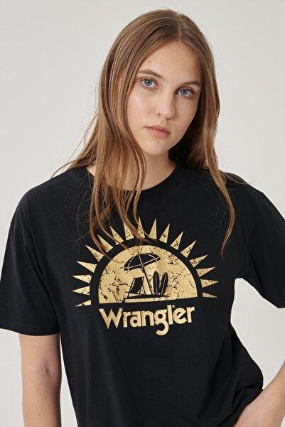 WRANGLER Kadın Siyah Kısa Kollu %100 Pamuk Grafik Desenli Sıfır Yaka Tişört
