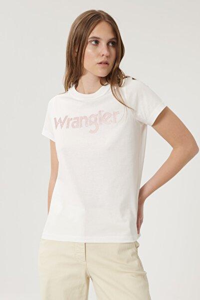 WRANGLER Kadın Kırık Beyaz Kısa Kollu %100 Pamuk Logolu Sıfır Yaka Tişört
