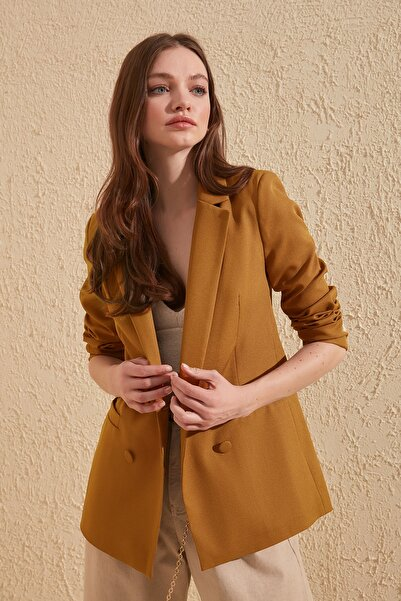 TRENDYOLMİLLA Camel Cep Detaylı Blazer Ceket TWOAW20CE0051