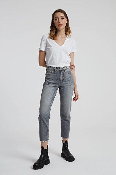 CROSS JEANS Elıza Cropped Gri Paçası Kesikli Straight Cropped Fit Jean Pantolon