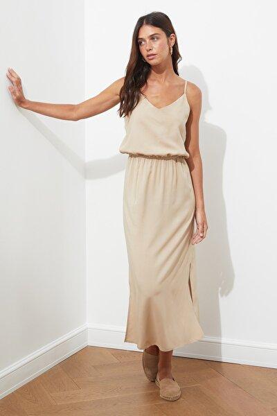 TRENDYOLMİLLA Camel Askılı Elbise TWOSS19EL0276