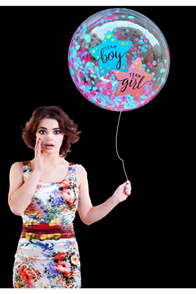 Happyland Cinsiyet Partisi Girl Boy Yazılı Pembe Mavi Pullu Cam Transparan Balon 1 Adet