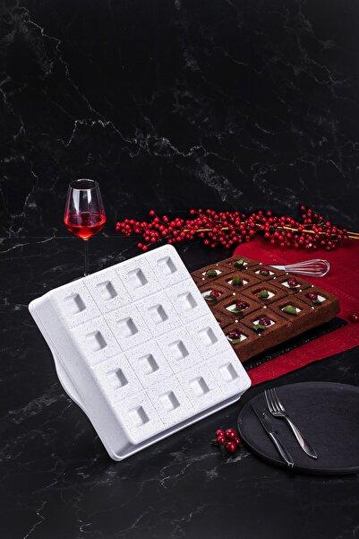 Taç Granit Döküm Brownie Kek Kalıbı Beyaz 29 Cm