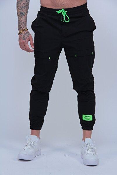 MODAGEN Erkek Siyah Paraşüt Kumaş Paça Lastikli Jogger Pantolon