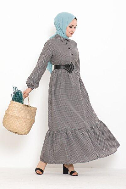 Eliza Deri Kemerli Düğmeli Kareli Tesettür Elbise Mint
