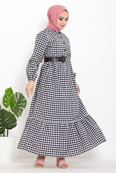 Eliza Deri Kemerli Düğmeli Kareli Tesettür Elbise Lacivert