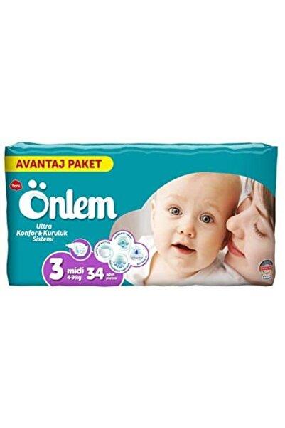 ÖNLEM Bebek Bezi 3 Numara Avantaj Paket Midi 34 Adet 4-9 Kg