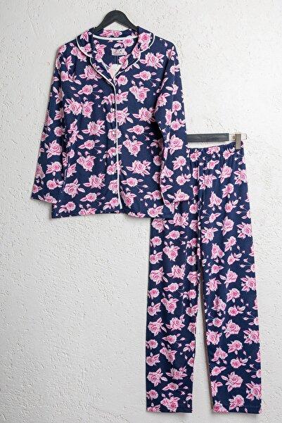BSM Kadın Pamuklu Lacivert Çiçekli Düğmeli Pijama Takımı