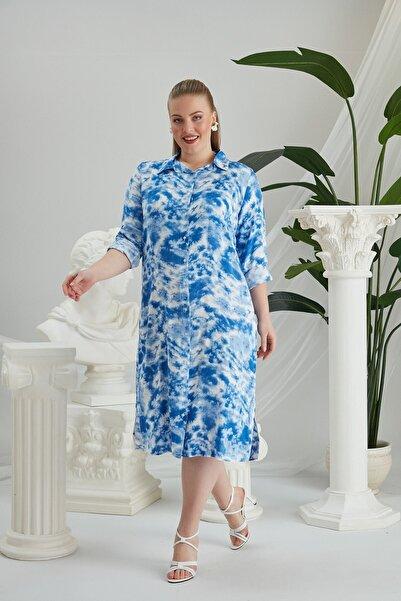 RMG Kadın Mavi  Batik Desenli Büyük Beden Elbise