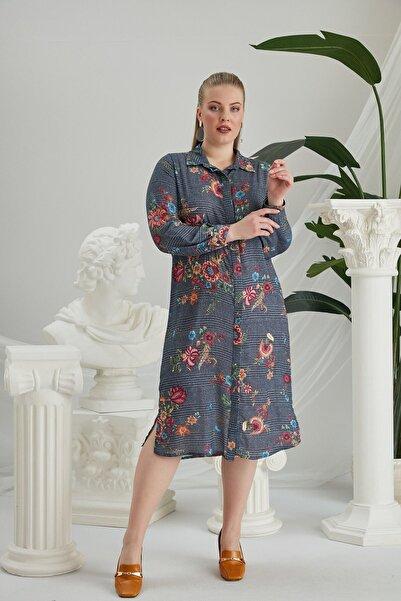RMG Indigo Çiçek Desenli Elbise