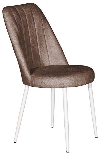 VIANEM Nova Mutfak Balkon Restoran Cafe Sandalyesi Beyaz Metal Ayak