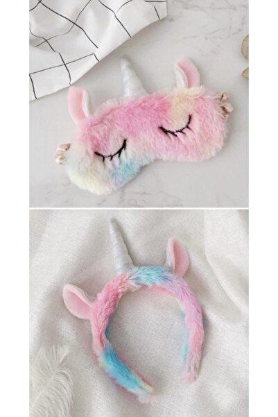 MİSSİNG Unicorn Set Çocuk Peluş Uyku Göz Bandı Ve Taç