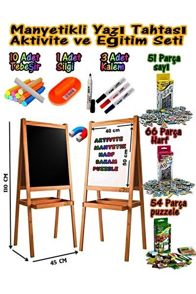 USF Manyetikli Çift Taraflı Ahşap Yazı Tahtası Seti Çocuk Eğitici Ve Eğitim Için Aktivite Yazı Tahtası