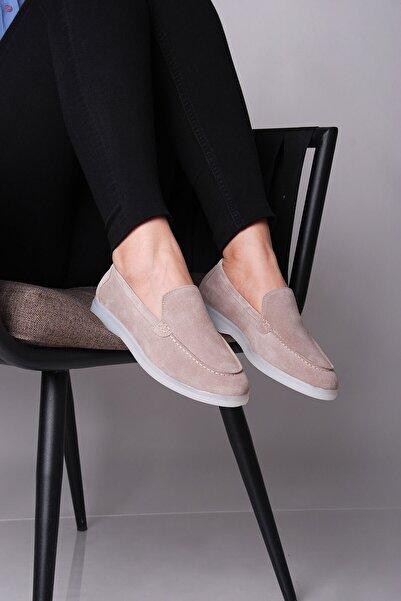 SHOEMOL Kadın Ten Rengi Süet Loafer Ayakkabı