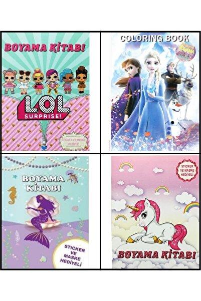 papercraft 4'lü Boyama Kitabı Frozen, Lol Bebek, Unicorn, Deniz Kızı