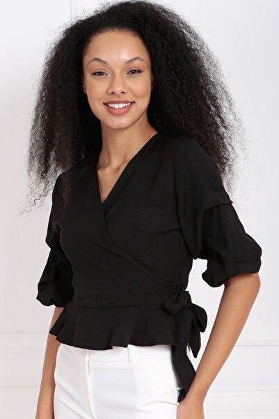 Sense Kadın Siyah Ön Kruvaze Kuşaklı Bluz Blz32738