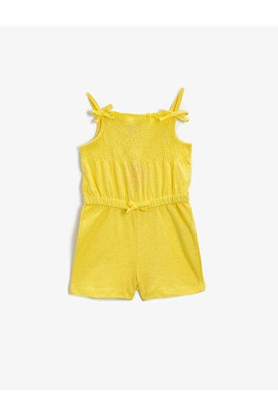 Koton Kız Bebek Sarı Fiyonk Detayli Tulum