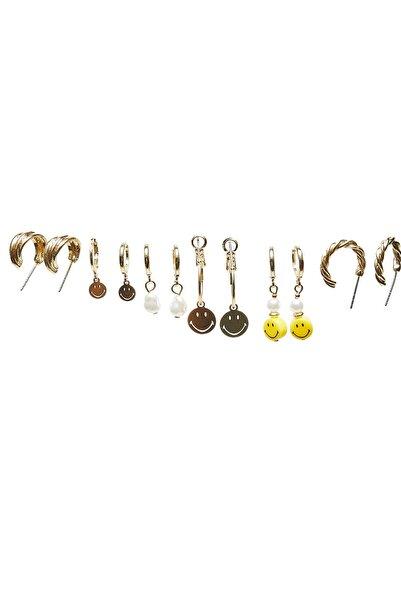 Stradivarius Kadın Sarı 6'Lı Smiley ® Küpe Seti