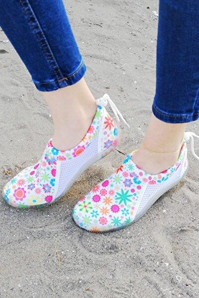 Savana Unisex Beyaz Çiçek Desenli Deniz Ayakkabısı