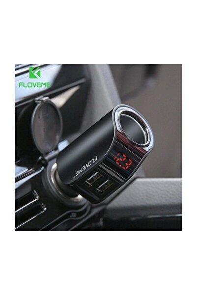 Ally Mobile Floveme 3.1a Çift Usb Dijital Ekran Araba Çakmaklık Şarj Cihazı Siyah
