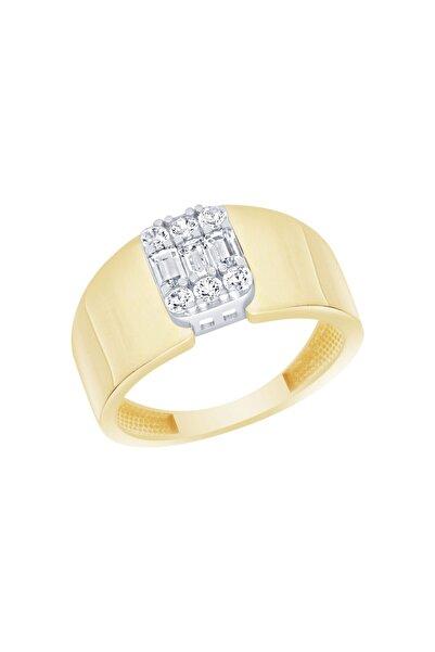 Diamond Line-Gülaylar Sarı Beyaz Altın 14 Ayar Baget Taşlı Yüzük