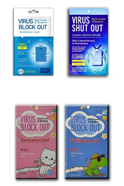 Vso DEZENFEKTAN KART   Aile Paketi 4'lü-virüs Block Out Yaka Kartı-4'lü Aile Paketi(4 Adet)