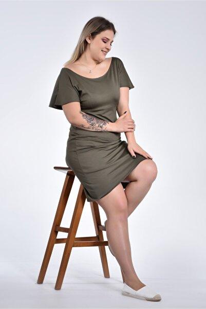 Moda Cazibe Kadın Haki Büyük Beden Kısa Kol Yuvarlak Yaka Viskon Elbise