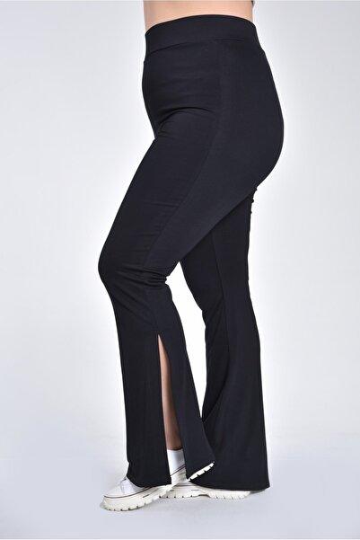 Moda Cazibe Kadın Siyah Yüksek Bel Yırtmaçlı İspanyol Paça Büyük Beden Pantolon