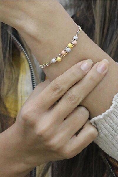Sümer Telkari Kadın Dorissa Altın Yaldızlı Rose Gümüş Bileklik