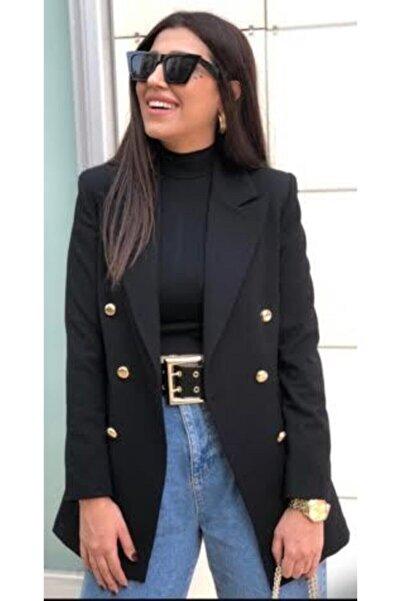 Ashley Uzun Gold Düğmeli Siyah Blazer Ceket
