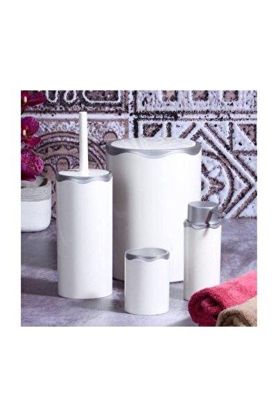 Azra 4 Parça Akrilik Beyaz Mat Gümüş Banyo Seti