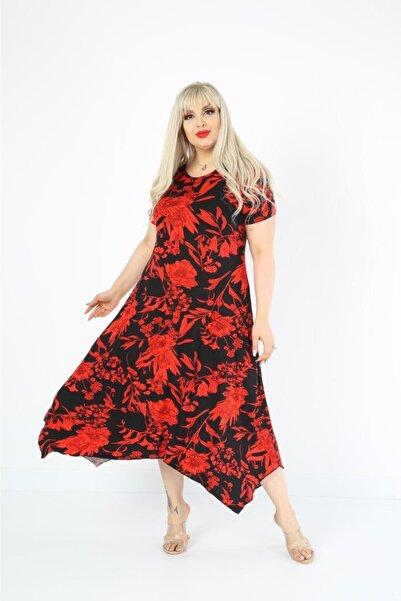 Mezura Yazlık Kadın Kısa Kol Asimetrik Etek Viskon Penye Elbise
