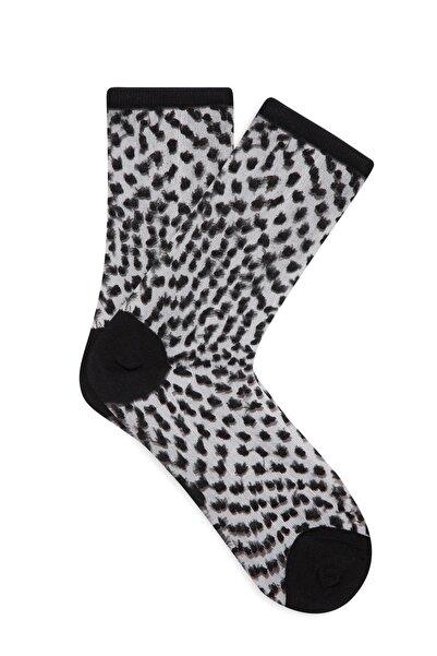 Mavi Kadın Puantiyeli Siyah Soket Çorap 198290-900