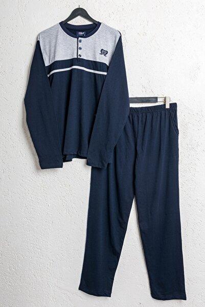 BSM Erkek Pamuklu Lacivert Mevsimlik Pijama Takımı