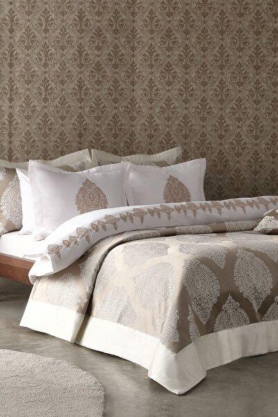 Yataş Bedding Mirella Nakışlı Nevresimli Ve Abiye Yatak Örtülü 10 Parça Çeyiz Seti - Vizon