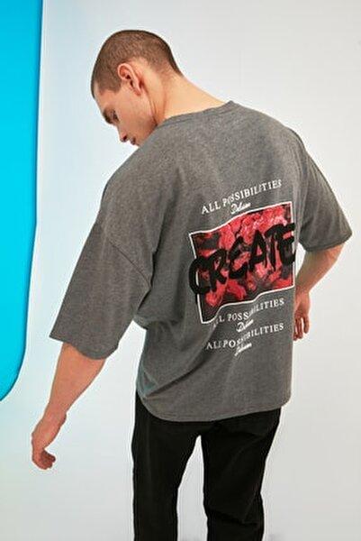Antrasit Erkek Oversize Baskılı Kısa Kollu T-Shirt TMNSS21TS0878