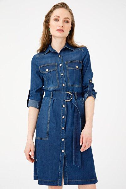 Ekol Kadın İndigo Beli Kuşaklı Kot Elbise